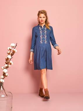Vertbaudet Collection-Maternity-Embroidered Denim Maternity Dress