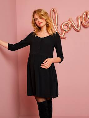 Maternity-Dresses-Loose-Fitting Maternity Dress with Buttoned Front