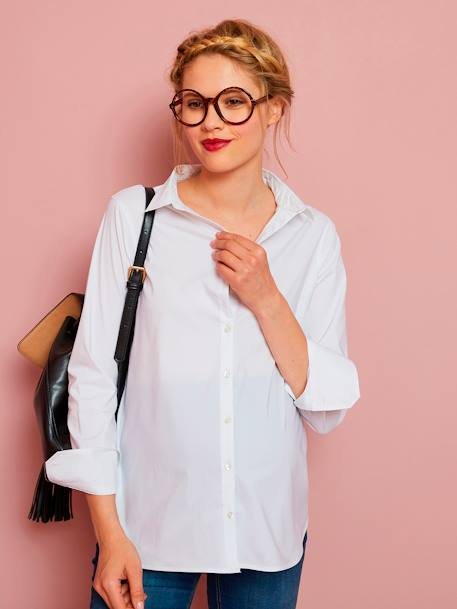 Maternity Urban Shirt PINK LIGHT SOLID+WHITE LIGHT SOLID - vertbaudet enfant
