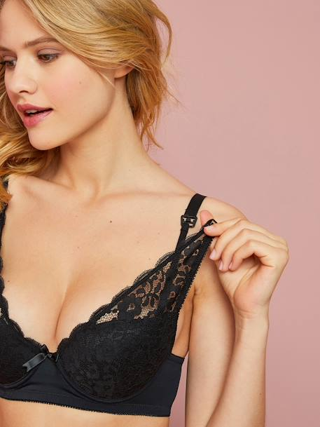 Lace Nursing Bra BLACK DARK SOLID+BLUE DARK SOLID+ORANGE MEDIUM SOLID+PINK BRIGHT SOLID - vertbaudet enfant