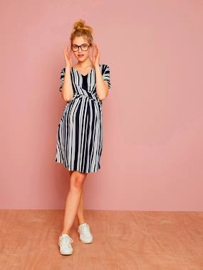 Maternity-Dresses-Loose-Fitting Striped Maternity Dress
