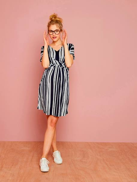 Loose-Fitting Striped Maternity Dress BLUE DARK STRIPED - vertbaudet enfant
