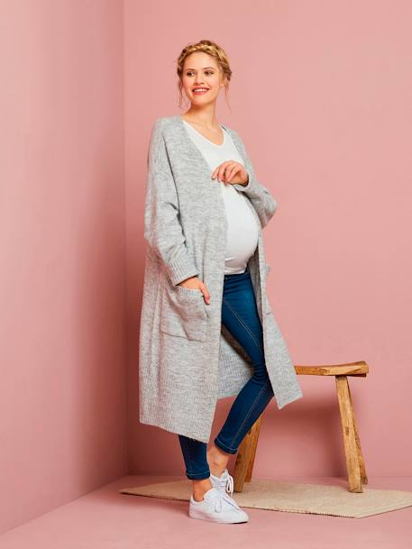 Soft Longline Maternity Knitted Cardigan GREY LIGHT MIXED COLOR - vertbaudet enfant