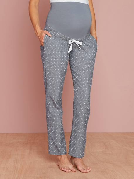 Chambray Maternity Snuggle Trousers BLUE MEDIUM ALL OVER PRINTED - vertbaudet enfant