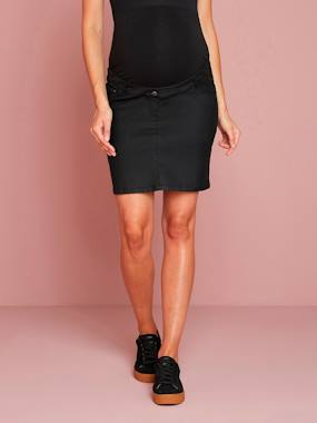 Vertbaudet Collection-Maternity-Skirts-Coated Straight-Cut Maternity Skirt