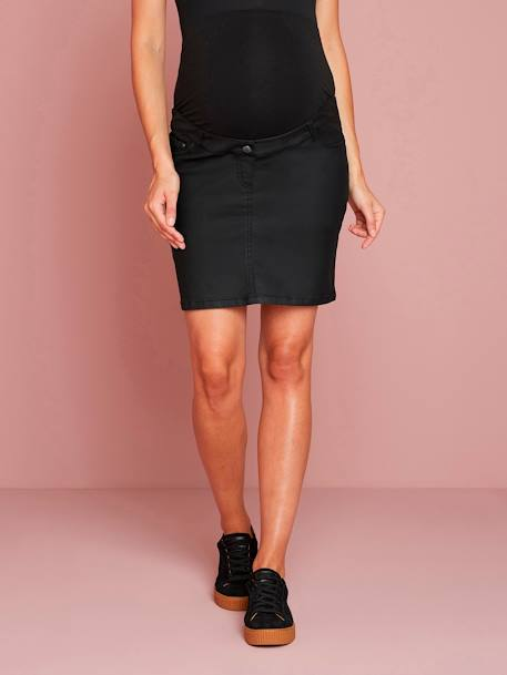 Coated Straight-Cut Maternity Skirt BLACK DARK SOLID - vertbaudet enfant
