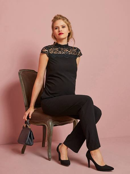 Long Maternity Jumpsuit in Jersey Knit & Lace BLACK DARK SOLID - vertbaudet enfant