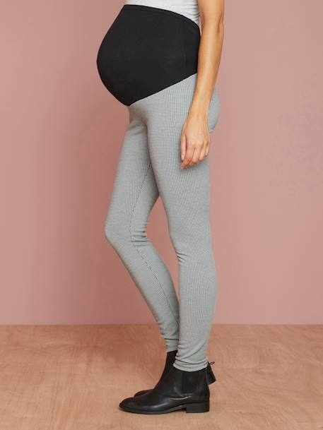 Maternity Squared Houndstooth Leggings, Inside Leg 29' GREY DARK ALL OVER PRINTED - vertbaudet enfant