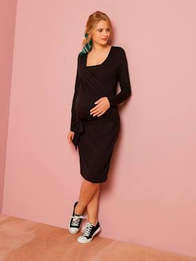 Maternity-Dresses-Wrapover Nursing Dress in Jersey Knit