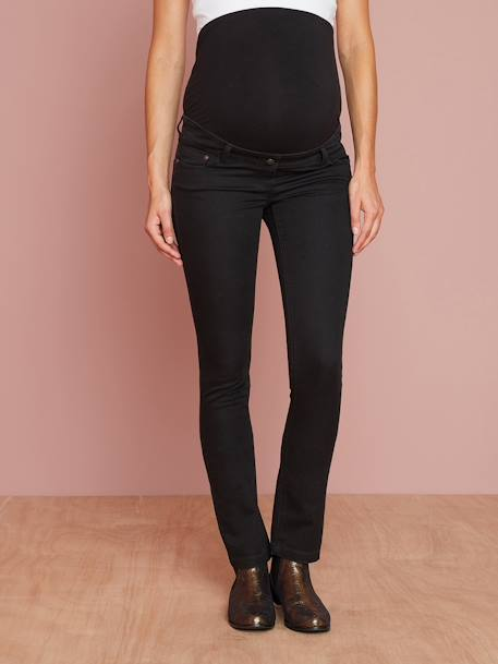Maternity Slim Jeans in Stretch Fabric, Inside Leg 31' BLACK DARK SOLID+BLUE DARK SOLID - vertbaudet enfant