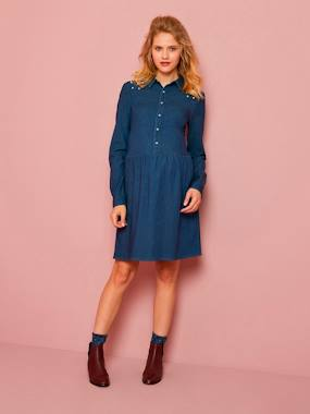 Maternity-Dresses-Denim Maternity Dress with Beads