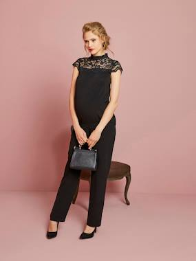 Vertbaudet Sale-Maternity-Long Maternity Jumpsuit in Jersey Knit & Lace