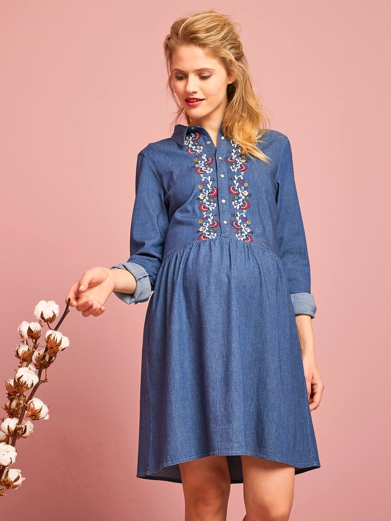great quality authentic amazing selection Embroidered Denim Maternity Dress - blue dark wasched, Maternity