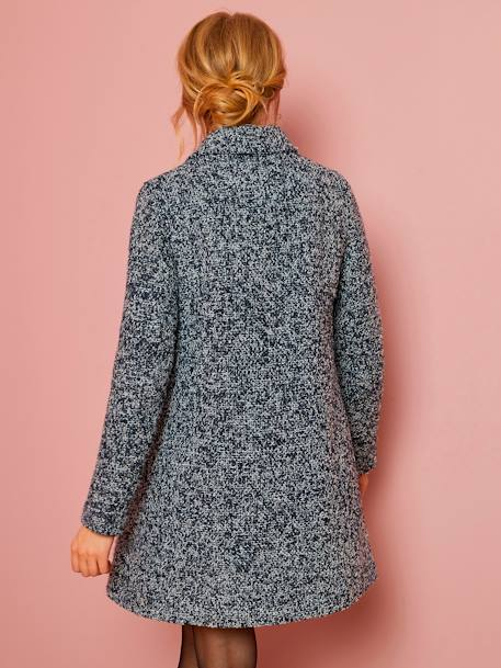 Maternity Coat in Iridescent Wool BLUE DARK MIXED COLOR - vertbaudet enfant