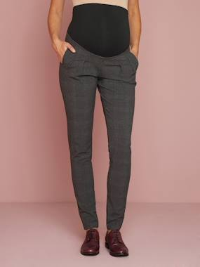Maternity-Trousers-Chequered Maternity Trousers