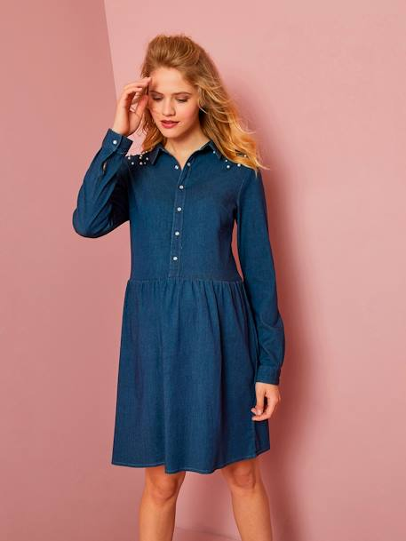 Denim Maternity Dress with Beads BLUE DARK SOLID WITH DESIGN - vertbaudet enfant