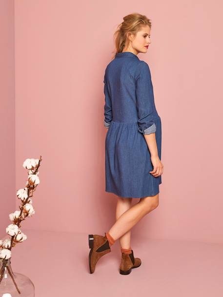 Embroidered Denim Maternity Dress BLUE DARK WASCHED - vertbaudet enfant