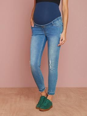 Maternity-Jeans-Maternity Washed Skinny Jeans, Ankle Length