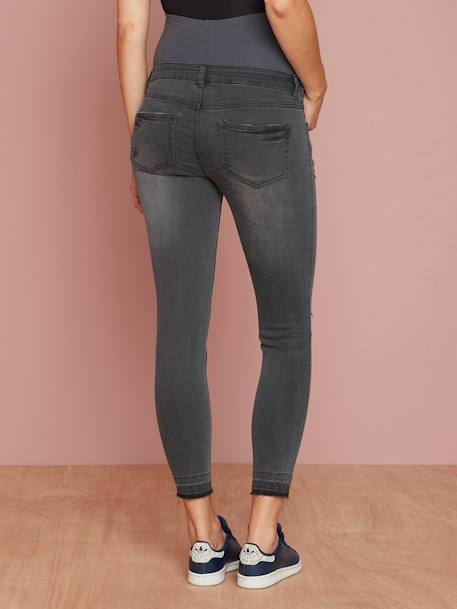 Maternity Washed Skinny Jeans, Ankle Length BLACK DARK SOLID+BLUE DARK WASCHED+GREY DARK WASCHED+GREY MEDIUM WASCHED - vertbaudet enfant