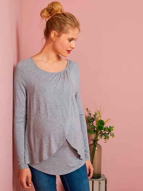 Maternity & Nursing Cross-Over T-Shirt BLACK DARK SOLID+BLUE DARK SOLID+BLUE MEDIUM ALL OVER PRINTED+GREY LIGHT MIXED COLOR+PINK DARK SOLID+RED MEDIUM SOLID - vertbaudet enfant