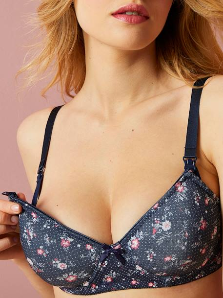 Printed & Padded Nursing Bra BLUE DARK ALL OVER PRINTED+RED LIGHT ALL OVER PRINTED - vertbaudet enfant