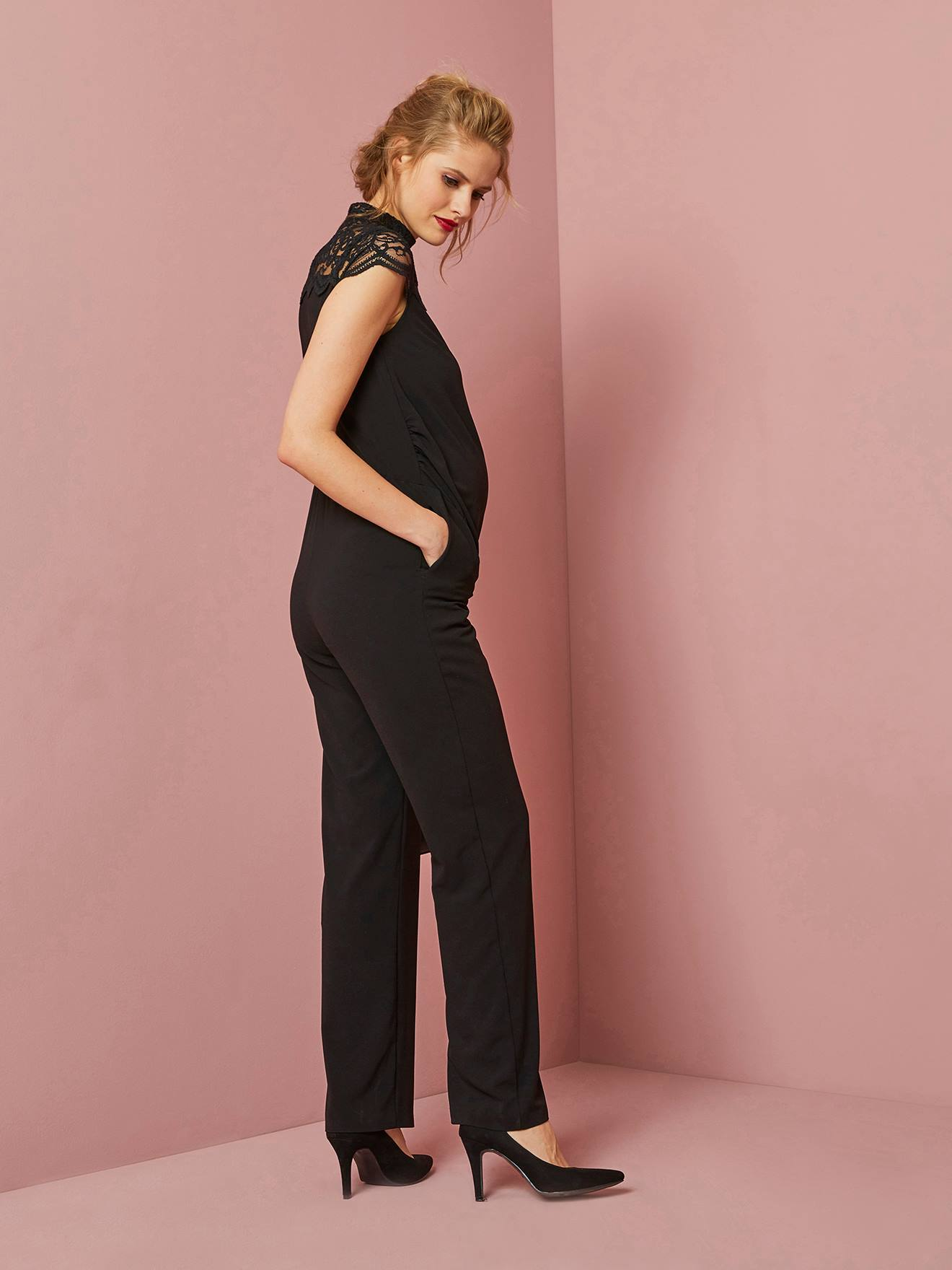 37a07705d9 Long Maternity Jumpsuit in Jersey Knit   Lace - black dark solid ...
