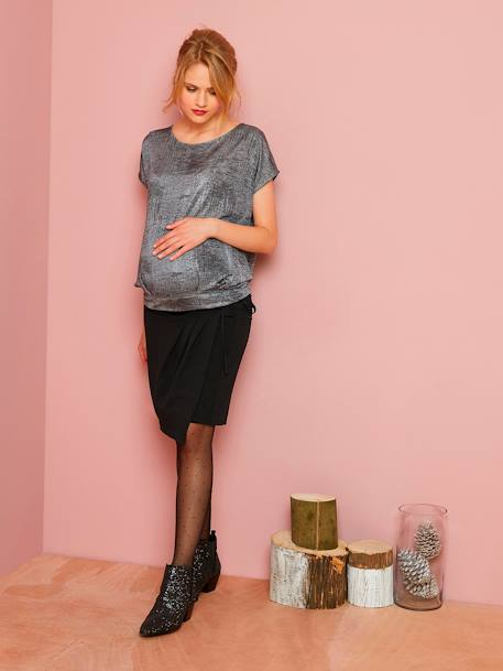 Maternity Wrap Skirt in Jersey Knit Fabric BLACK DARK SOLID - vertbaudet enfant