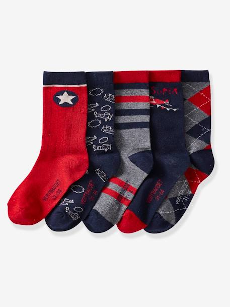 Pack of 5 Pairs of Socks for Boys RED DARK SOLID WITH DESIGN - vertbaudet enfant