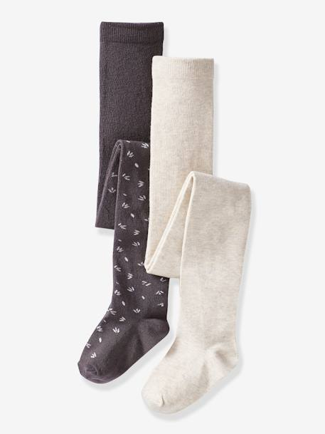 Lot de 2 collants fantaisie fille LOT ANTHRACITE - vertbaudet enfant