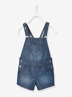 Girls-Dungarees & Playsuits-Denim Dungaree Shorts for Baby Girls