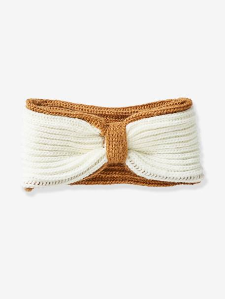 Reversible Knit Hairband for Girls BROWN MEDIUM SOLID WITH DESIGN - vertbaudet enfant