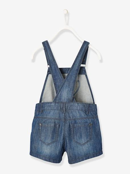 Denim Dungaree Shorts for Baby Girls BLUE DARK SOLID - vertbaudet enfant