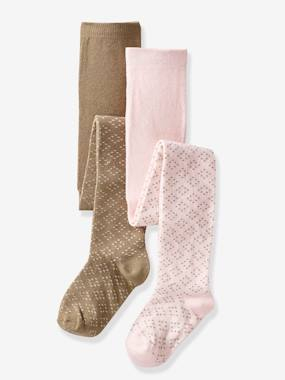 Girls-Underwear-Girl's Pack of 2 Pairs of Openwork Knit Tights