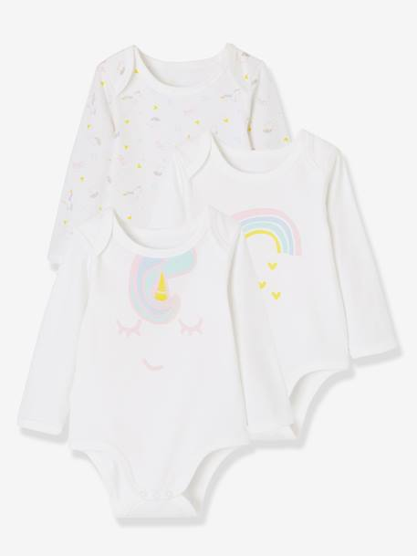 Pack of 3 Long-Sleeved Bodysuits for Babies WHITE LIGHT TWO COLOR/MULTICOL - vertbaudet enfant