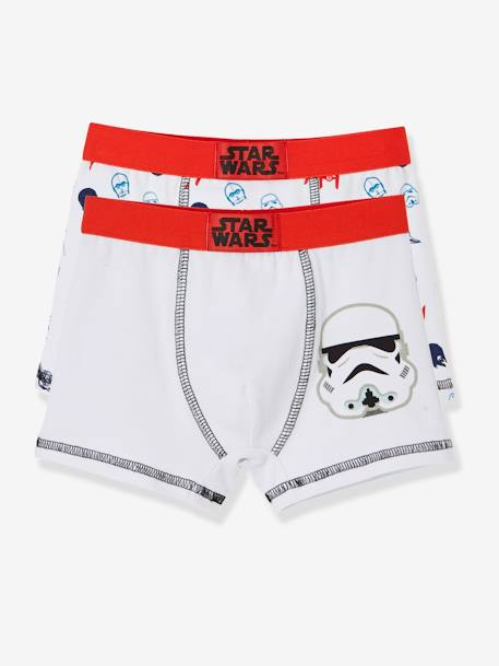 Pack of 2 Assorted Star Wars® Boxers WHITE MEDIUM SOLID WITH DESIGN - vertbaudet enfant