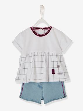 Schoolwear-Baby-Dual Fabric & Denim Shorts Outfit for Baby Girls