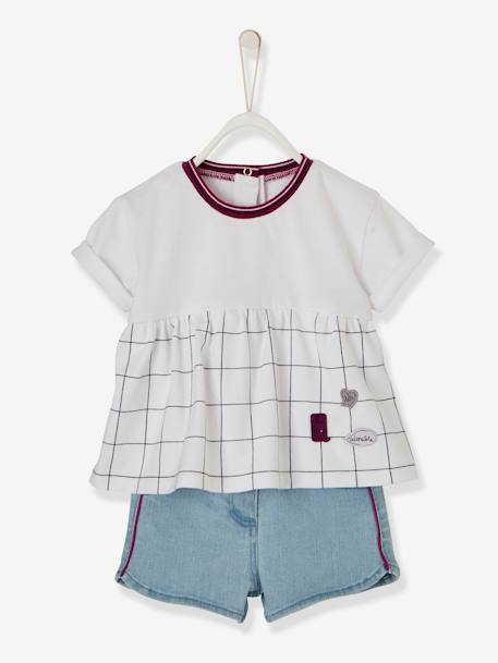 Dual Fabric & Denim Shorts Outfit for Baby Girls WHITE LIGHT CHECKS - vertbaudet enfant