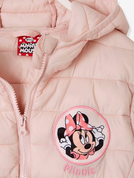 Light Padded Minnie® Jacket, with Hood PINK LIGHT ALL OVER PRINTED - vertbaudet enfant