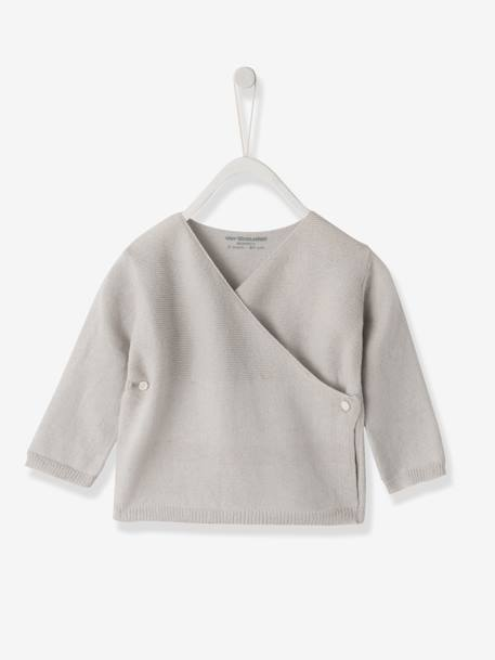 Knitted Baby Cardigan, Organic Collection Pale grey+White - vertbaudet enfant