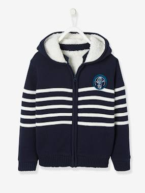 Vertbaudet Sale-Boys-Cardigans, Jumpers & Sweatshirts-Striped Hooded Jacket with Plush Lining for Boys