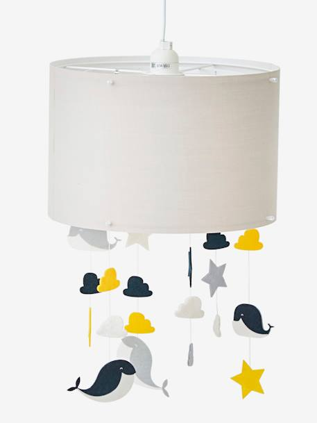 Ceiling Lampshade, Whale GREY MEDIUM SOLID WITH DESIGN - vertbaudet enfant