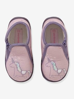 Shoes-Baby Footwear-Slippers-Velvet Effect Shoes with Zip for Babies
