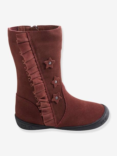 Leather Boots for Girls, Autonomy Collection BROWN MEDIUM SOLID+RED DARK SOLID - vertbaudet enfant