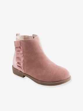 Vertbaudet Collection-Shoes-Leather Boots with Fur for Girls