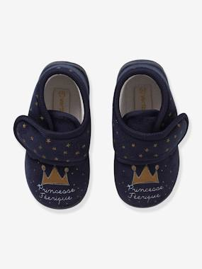 Shoes-Baby Footwear-Slippers & Booties-Velvet-Effect Shoes with Touch 'n' Close Fastening for Babies