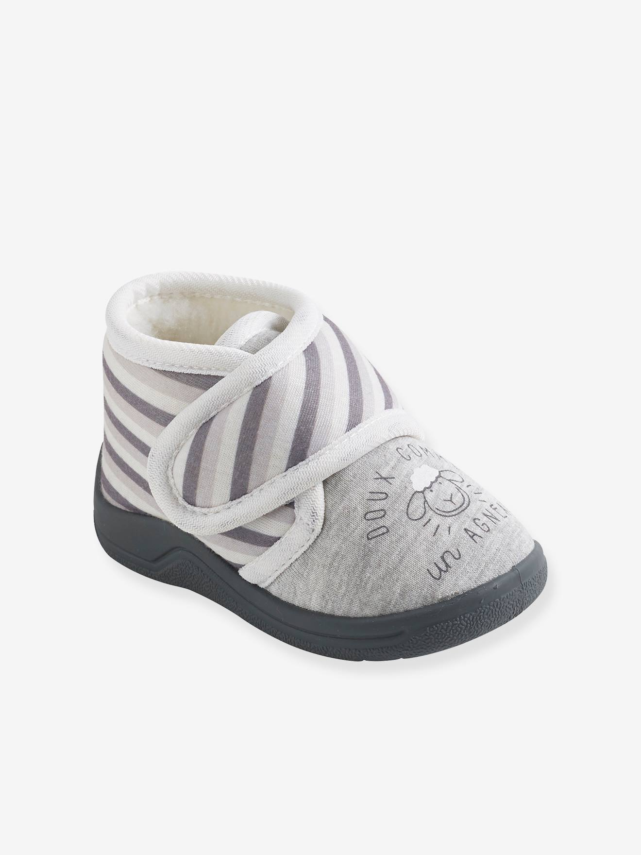 Baby Shoes with Fur for Boys - grey