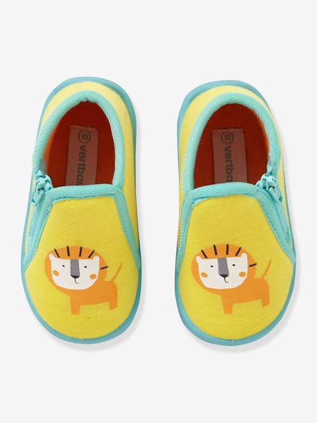 Slippers with Zip for Boys YELLOW DARK SOLID WITH DESIGN - vertbaudet enfant