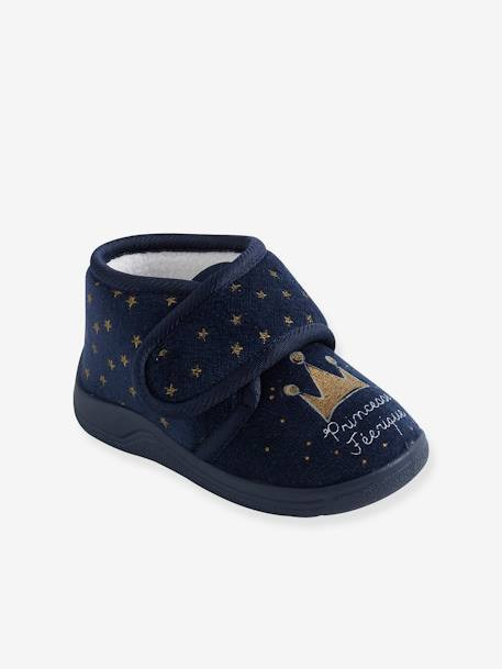 Velvet-Effect Shoes with Touch 'n' Close Fastening for Babies BLUE DARK ALL OVER PRINTED - vertbaudet enfant