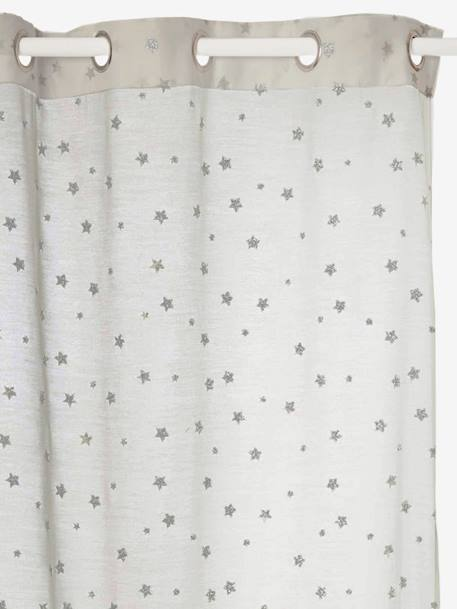Curtain with Iridescent Stars GREY LIGHT ALL OVER PRINTED - vertbaudet enfant