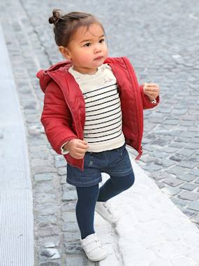 bebe-london-Ensemble sweat rayé brodé et short en jean bébé fille